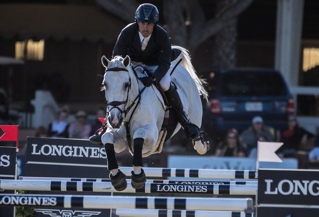 Andy Kocher (USA) with his horse Navalo de Poheton glide to victory recording a first time win in Del Mar today at the Longines FEI World Cup™ Jumping North American League qualifier. (FEI/Nick Souza)