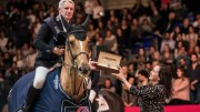 Rio 2016 Olympic team champions, Roger Yves Bost and the mare Sydney Une Prince, pictured with Elena Orozco, Longines Brand Manager Spain, after winning the sixth leg of the Longines FEI World Cup™ Jumping 2017/2018 Western European League in Madrid (ESP) tonight. (FEI/Lukasz Kowalski)