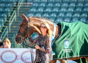 Sir Caramello with his owner PJ Rizvi of Peacock Ridge, who were also sponsors of the Grand Prix Special CDI3* class.