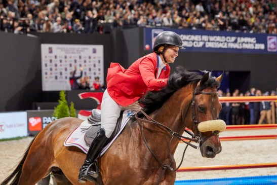 Beezie Madden (USA) clinches her second World Cup title riding Breitling LS in a cliffhanger at the Longines FEI Jumping World Cup™ Finals 2017/18 Paris, (FRA). (FEI/Liz Gregg)