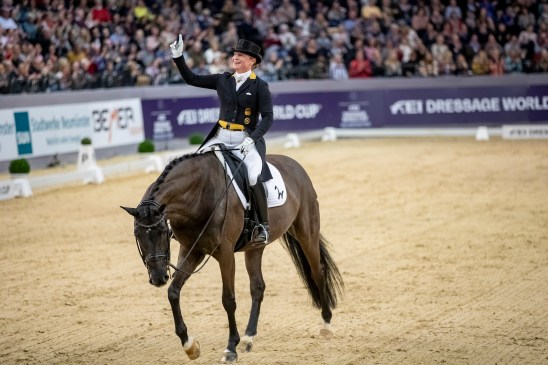 Defending series champion, Germany's Isabell Werth, won today's ninth and penultimate leg of the FEI Dressage World Cup™ 2018/2019 Western European League on home ground at Neumünster (GER) with her multi-medalled mare Weihegold. (FEI/Stefan Lafrentz)