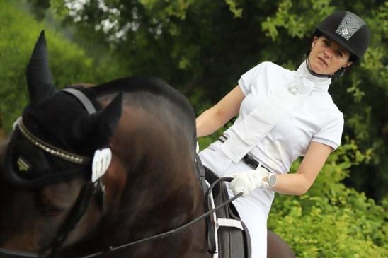 Aztec Diamond Mesh Insert Show Shirt Review - front image Donna Harrison Equestrian