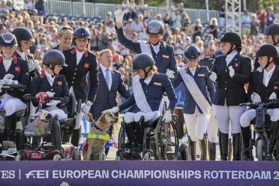The Netherlands take gold in front of their home crowd in the team competition at the Longines FEI Para Dressage European Championships Rotterdam (NED) on Saturday 24 August. (FEI / Liz Gregg)