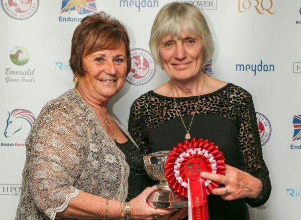 EGB Supreme Champion 2019 Judy Holloway (right) with Acting Chair Ann Dark r