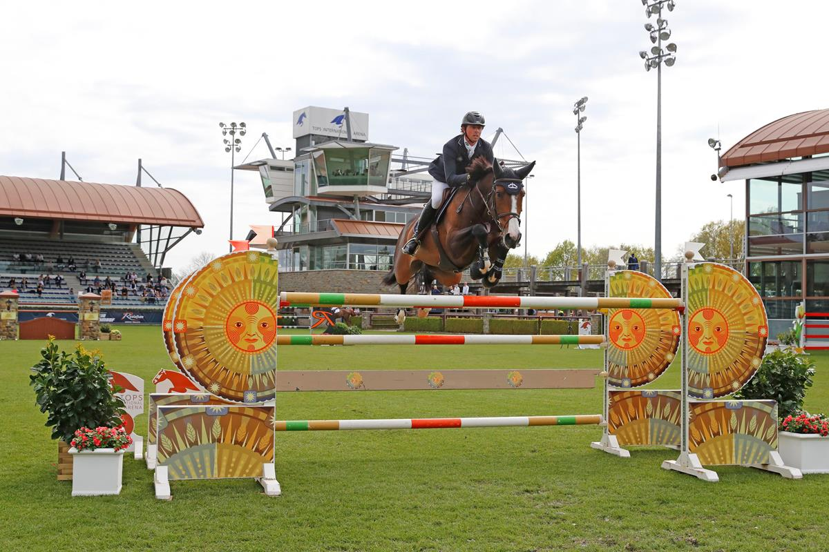 Ben Maher on Ginger Blue wins the TIA Grand Prix