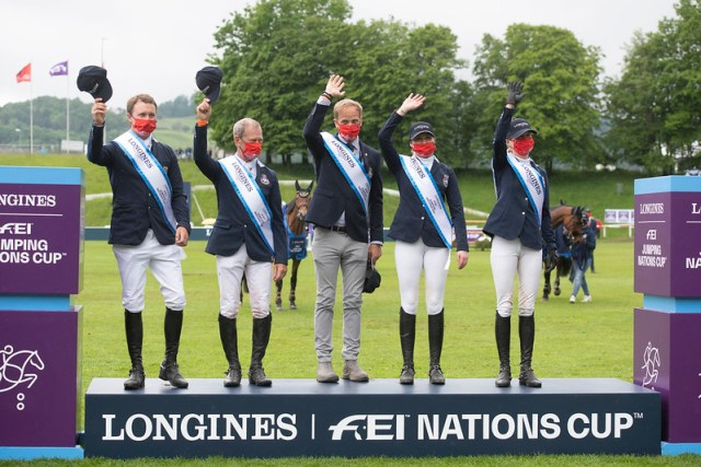 1st place for team Sweden at the LONGINES FEI JUMPING NATIONS CUP in St Gallen - Switzerland on 6 June 2021. Copyright © FEI/Richard Juillart