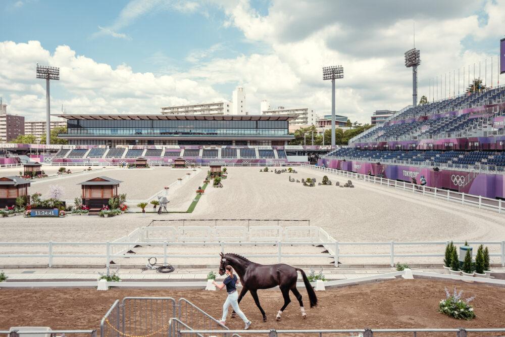 Tokyo 2020 - 1st Dressage Horse Inspection at Baji Koen Equestrian Park, Tokyo (JPN) Lyle Adrienne (USA) ride Salvino Friday 23 July FEI/Christophe Taniere