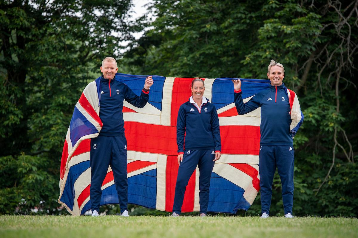 (L-R) Gareth Hughes, Charlotte Dujardin, Carl Hester - Great Britain selected Equestrian Dressage athletes - Tokyo2020