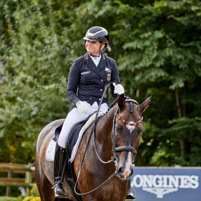 Dorothee Schneider Faustus GER. Presently in 3rd position.   Photo Copyright © FEI/Liz Gregg