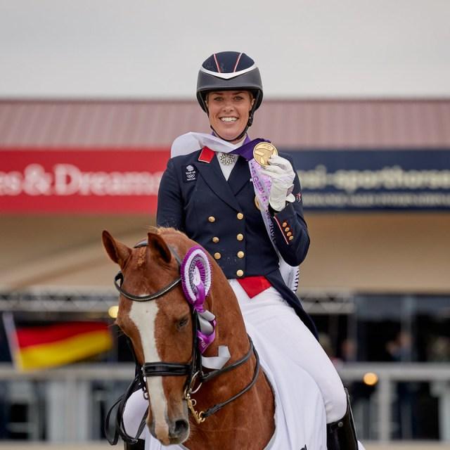 Freestyle. Jessica von rlotte Dujardin riding Gio GBR. Bronze medal position.   Photo Copyright © FEI/Liz Gregg