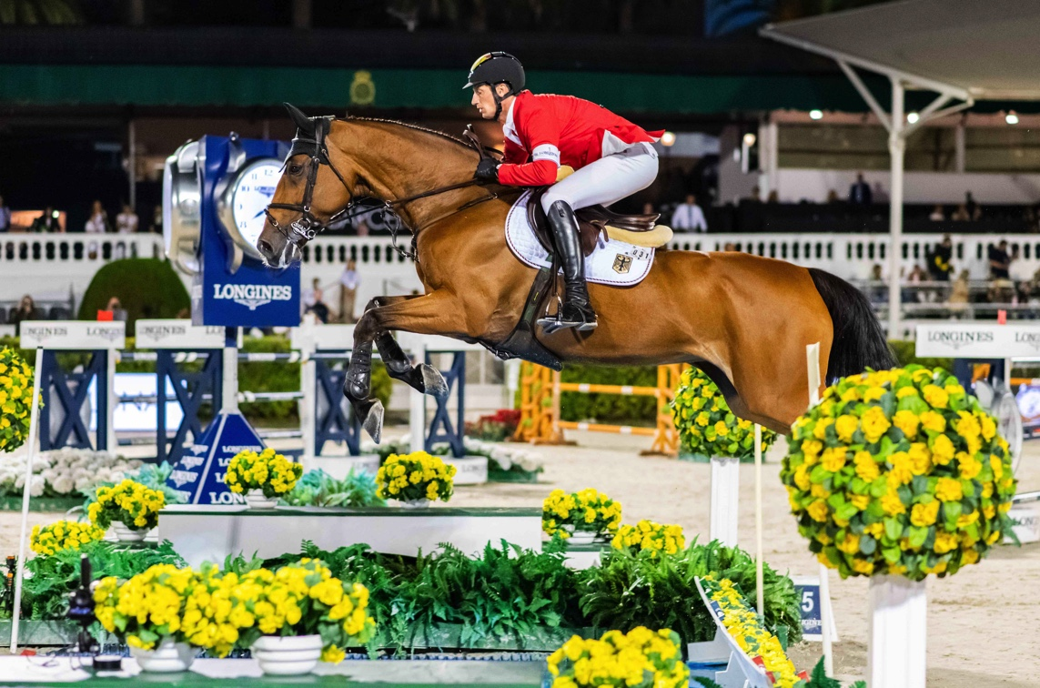 World number one, Daniel Deusser, helped Team Germany top the first round of the Longines FEI Jumping Nations Cup™ Final 2021 at the Real Club de Polo in Barcelona, Spain today with a superb clear round from Killer Queen VDM. (FEI/Łukasz Kowalski)