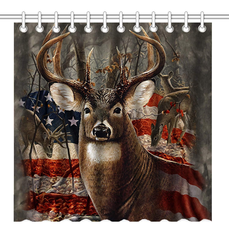 patriotic deer shower curtain