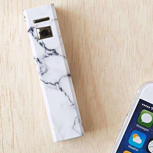 White marble phone charger