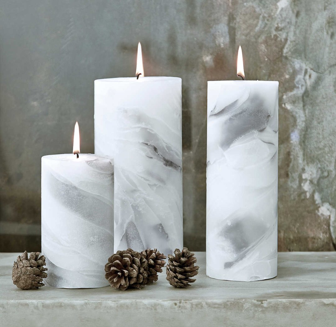 Marbled pillar candles by Nordic House