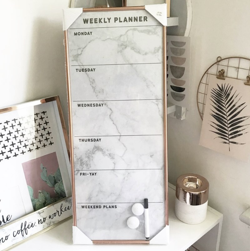 Weekly planner whiteboard by New Look (newlook.com) styled by @missleanorjean Instagram