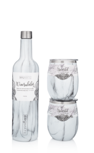 BrüMate Winesulator + 2 Uncork'd XL Wine Glasses/Lid gift set - Carrara marble pattern