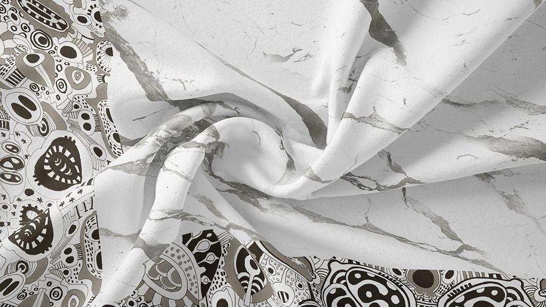 Foulard di seta italiana a stampa marmo di Carrara - una collaborazione EVERYTHING MARBLE & Artistante