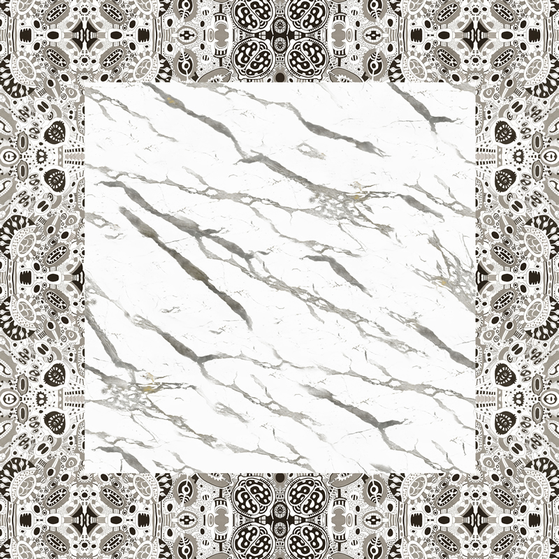 Carrara marble silk headscarf - 100% made in Italy