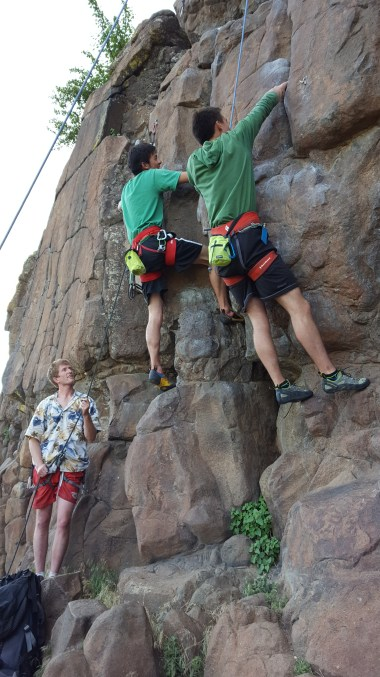 Andy (R) top roping Deck Chairs on the Titanic (5.10a) and his brother (L) leading a sport route on Bow of the Titanic (5.10-)