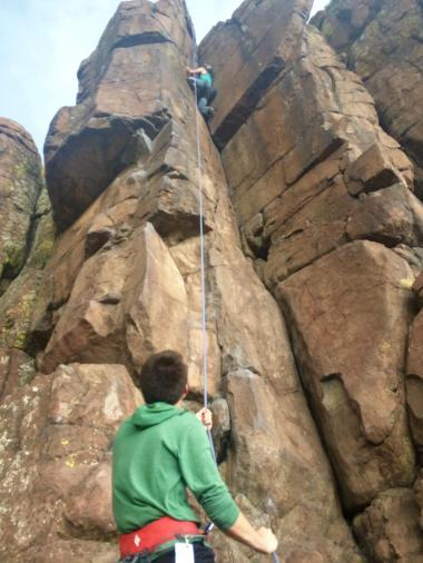 Andy belaying me on the big dihedral