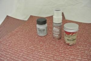 """St. Nicholas Collection"" by Kaisercraft Tim Holz Red Micro Glitter Tim Holtz Distress Stickles - Clear Rock Candy Adirondack Dauber in Hazlenut"