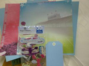 Cheerleader scrapbook paper and embellishments