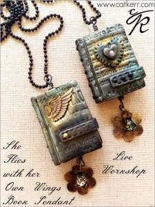 """Cat Kerr - """"She Flies with Her Own Wings"""" Mini Book Pendant @ everything scrapbook & stamps 