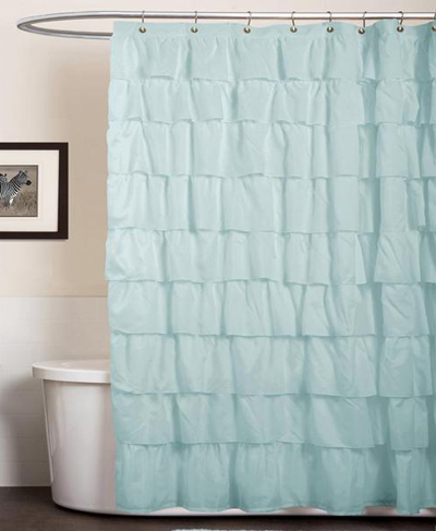 Lush Decor Ruffle Aqua Blue Shower Curtain Everything Turquoise