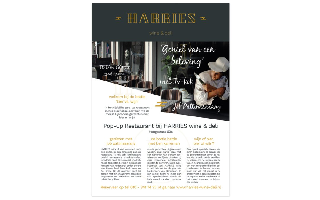 Flyer ontwerp Pop Up Restaurant – HARRIES Wine & Deli