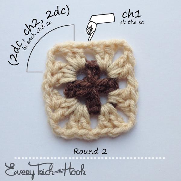 Victor, crochet pattern, round 2