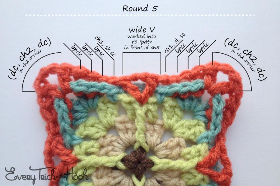 Victor, crochet pattern, round 5