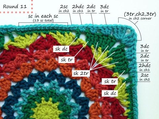 Marigold crochet afghan block pattern photo tutorial round 11