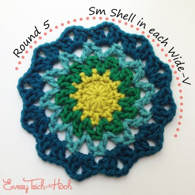 Marigold crochet afghan block pattern photo tutorial round 5