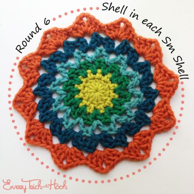 Marigold crochet afghan block pattern photo tutorial round 6