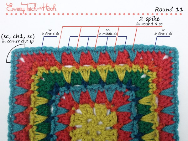 Spiked Punch crochet afghan block pattern photo tutorial round 11