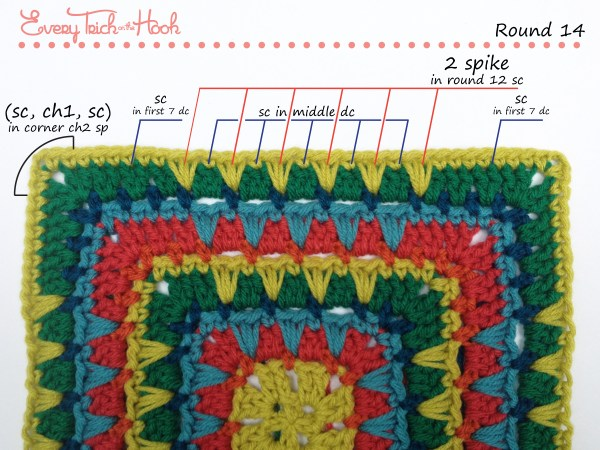 Spiked Punch crochet afghan block pattern photo tutorial round 14