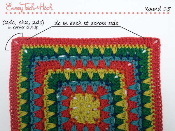 Spiked Punch crochet afghan block pattern photo tutorial round 15
