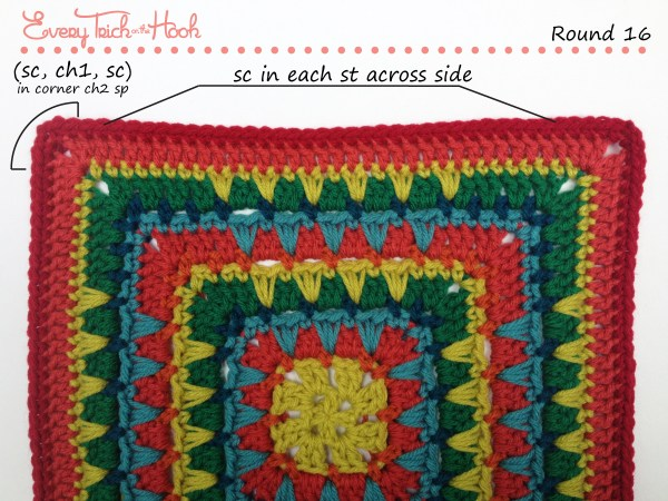 Spiked Punch crochet afghan block pattern photo tutorial round 16