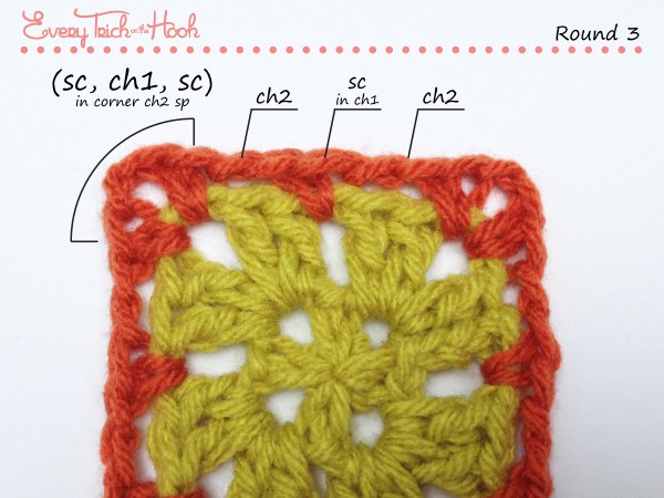 Spiked Punch crochet afghan block pattern photo tutorial round 3