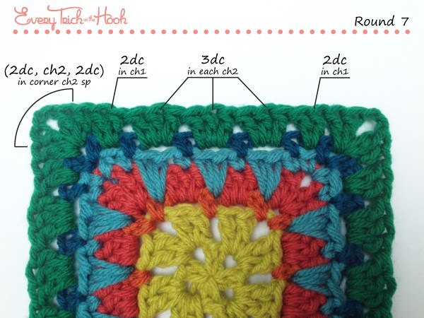 Spiked Punch crochet afghan block pattern photo tutorial round 7
