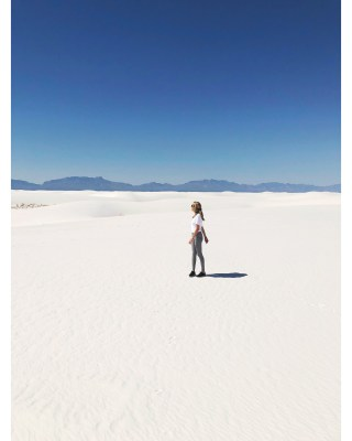 Caty Leslie at White Sands in New Mexico