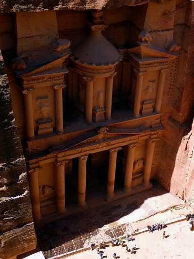 Die Sdchatzkammer in Petra aus der Vogelperspektive