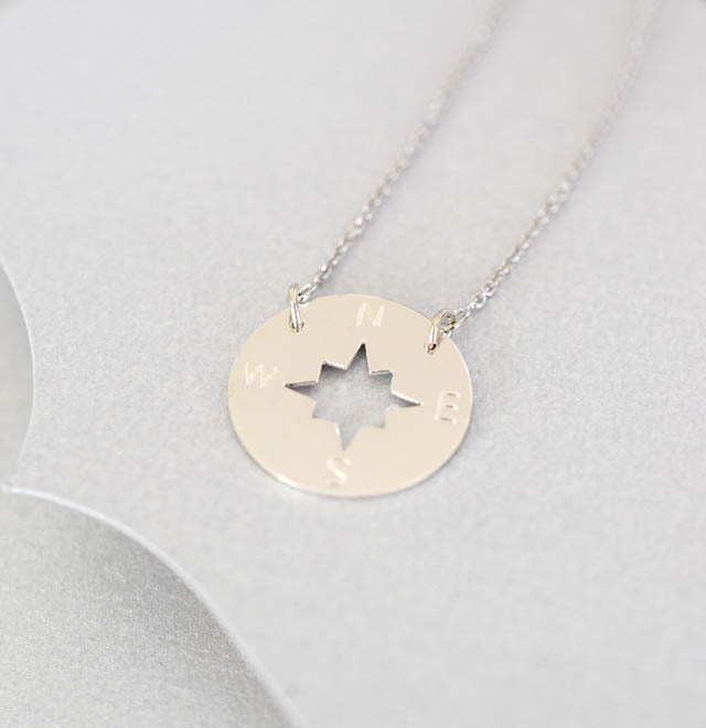 Compass Disc Sterling Silver Necklace