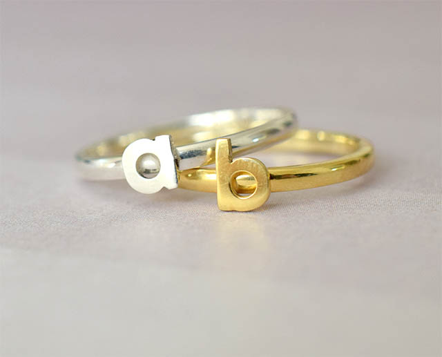 Gold and Silver Stackable Initial Rings