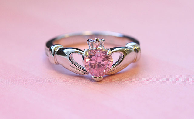 Birthstone Claddagh Ring with Pink Heart