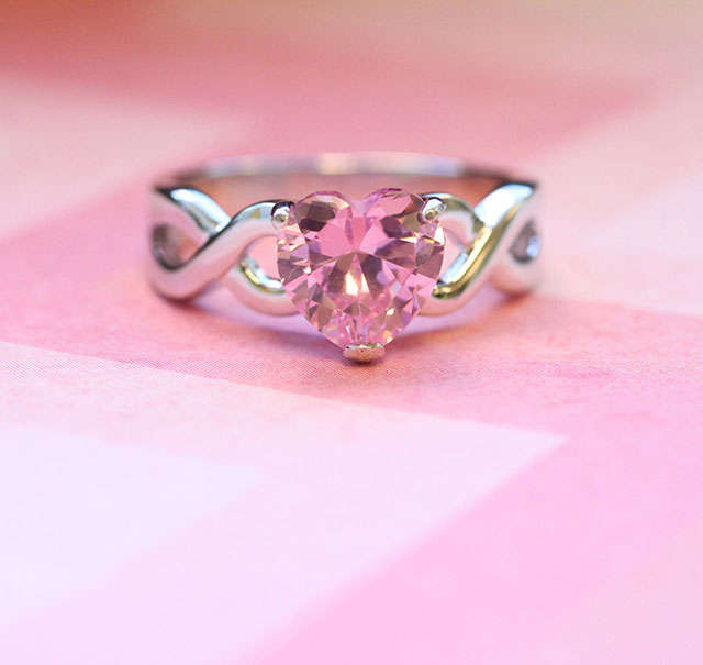Pink Heart Ring with Infinity Band