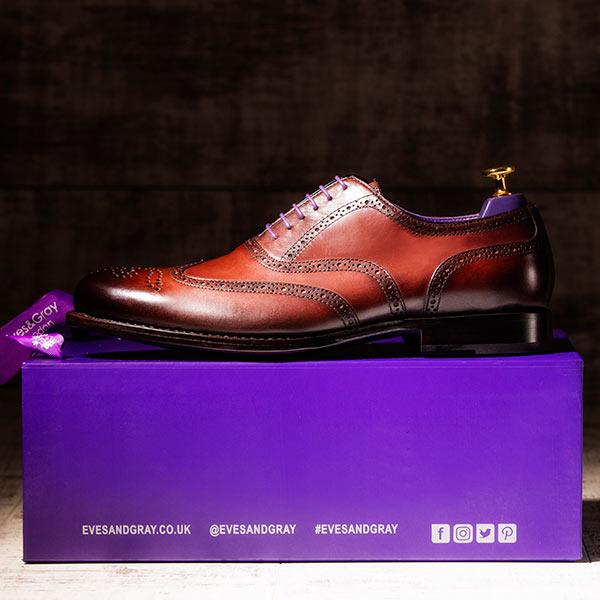 Burnished Mahgogany Italian Leather Goodyear Welted Brogue - Dehavilland 4