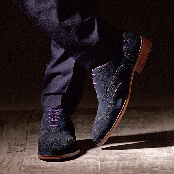 Blue Suede Italian Leather Brogue - Meteor 5