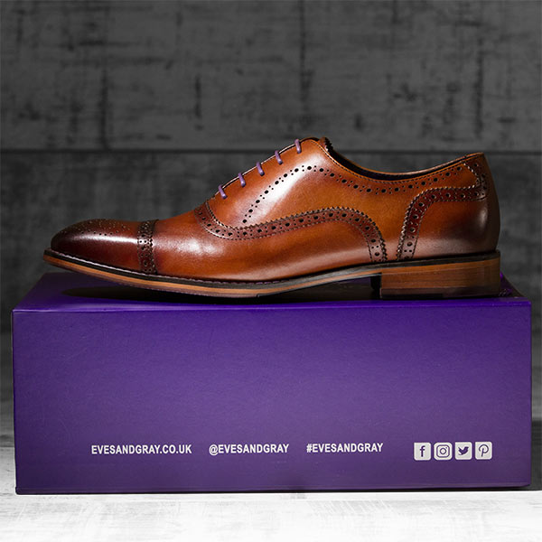 Rich, medium tan burnished Italian Leather Brogue - Balliol 1