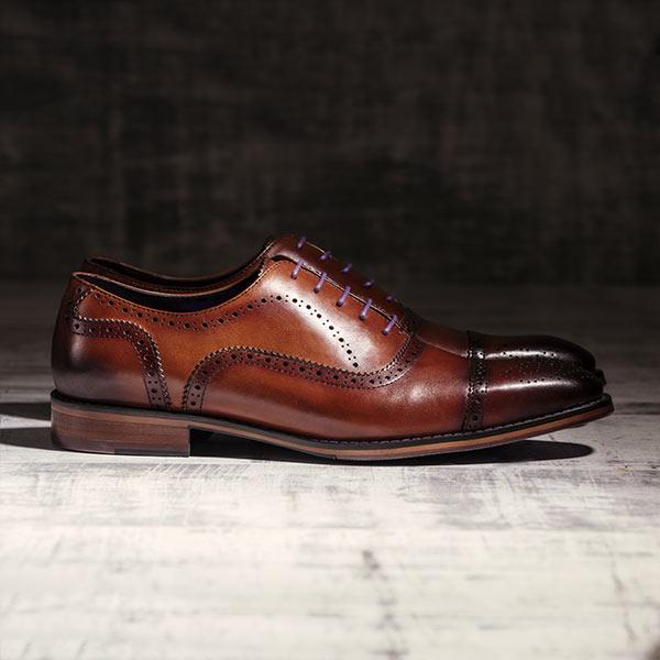 Rich, medium tan burnished Italian Leather Brogue - Balliol 3